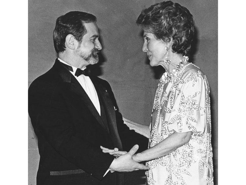 Nancy Reagan kicking off festivities for the Joffrey Ballet in 1987