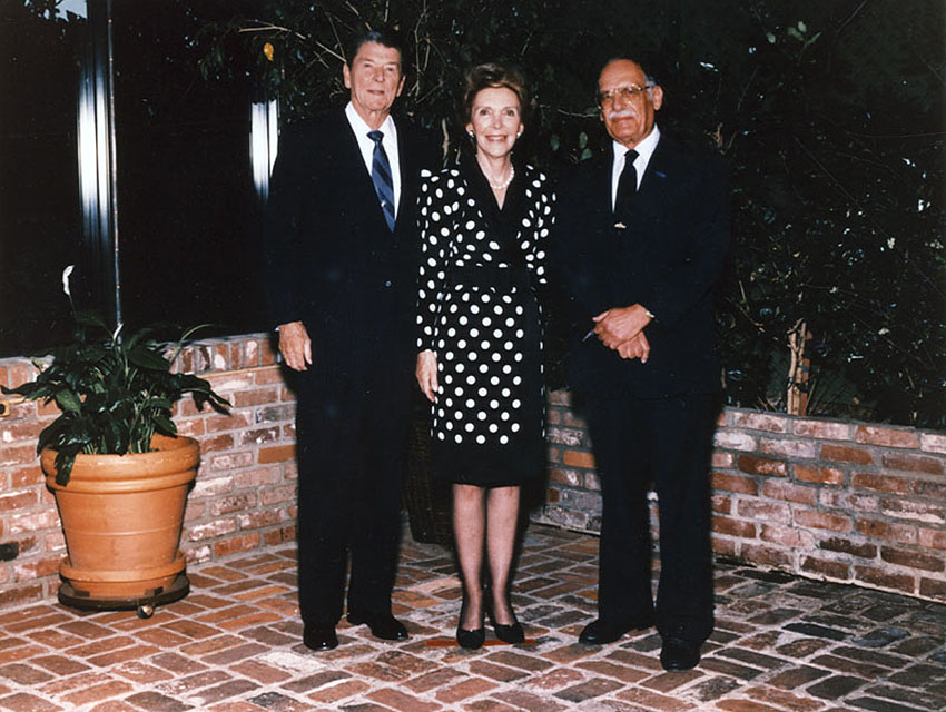 Shimon Erem with Ronald and Nancy Reagan at Chasen's. a Beverly Hills restaurant famous for its chili