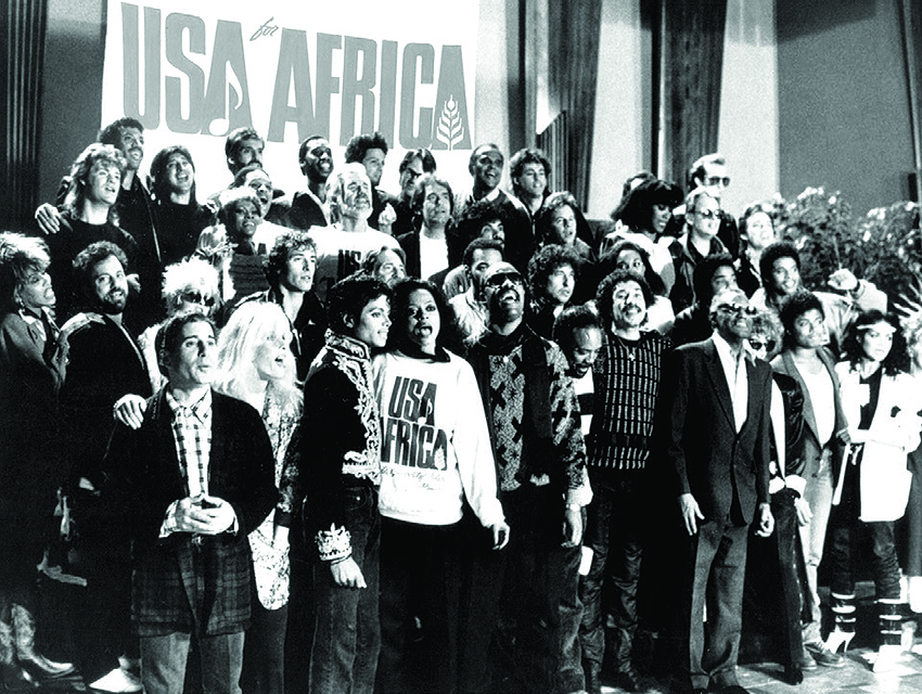 """The 46 superstars who came together in 1985 to record """"We Are the World,"""" which raised more than $60 million for Ethiopian famine victims"""