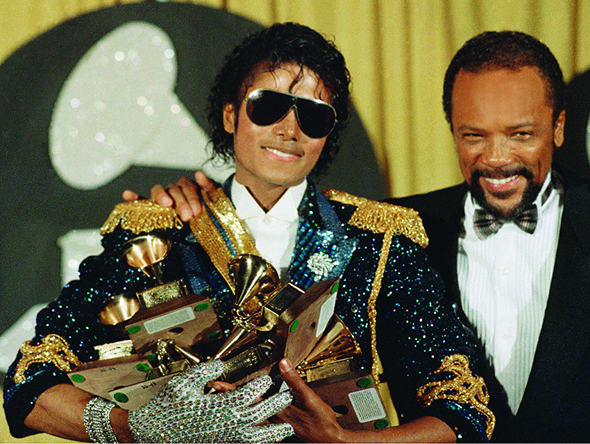 Jones with Michael Jackson at the 1984 Grammy Awards at Shrine Auditorium in L.A.