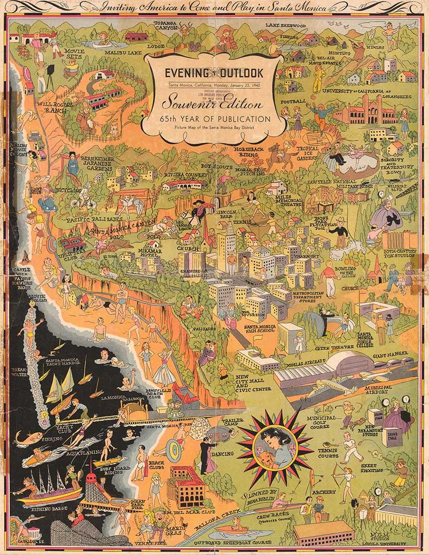 Picture Map of Santa Monica Bay District, Evening Outlook, Cartographer Rena Roblin, 1940