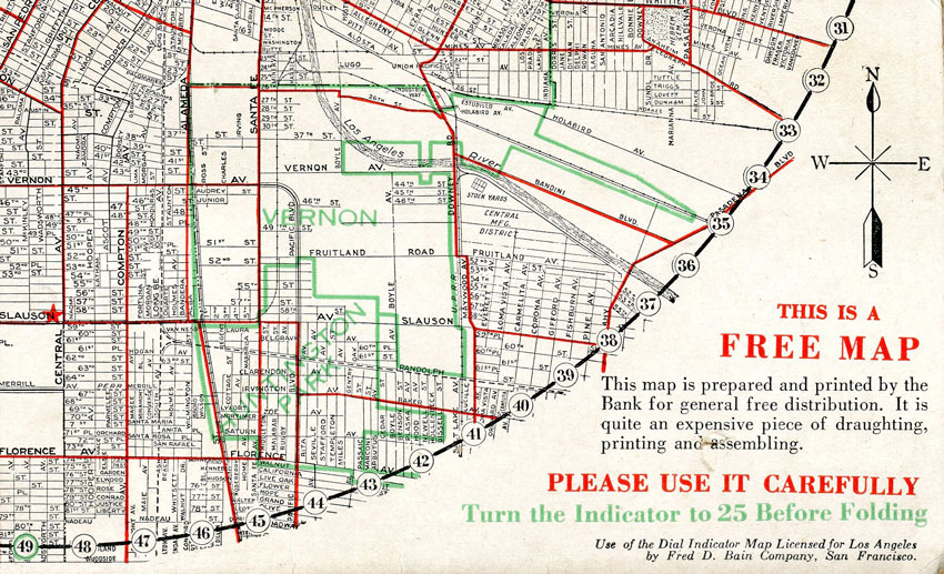 Vernon,E-Z Guide Map of Los Angeles,Security Trust and Savings Bank,Clason Map Company,1924