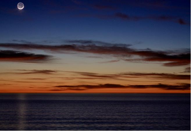Palos Verdes sun and moonset