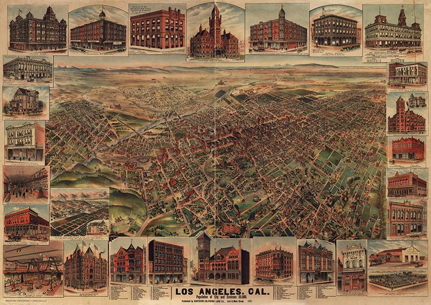 Los Angeles 1891, Southern California Land Company, Cartographer H.B. Elliot, 1891