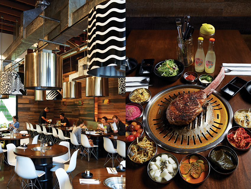 L to R: The Culver City Hanjip is the first in a line; the $150 tomahawk chop and its banchan satellites
