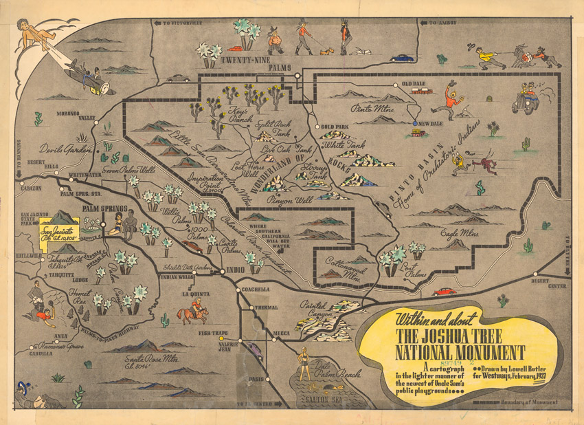 1937 Map of Joshua Tree by Cartographer Lowell Butler