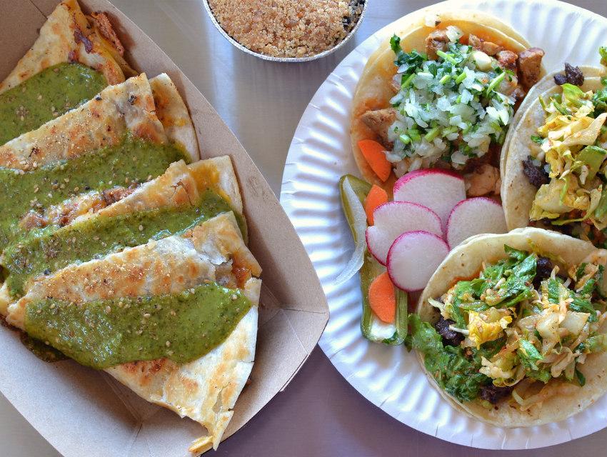 Short rib tacos, pollo asado, and a BlackJack quesadilla (with some tres leches cake for good measure)