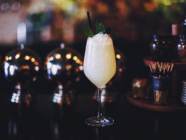 Normandie Club's House Spritz: dry vermouth, St. Germain, grapefruit and lemon juices, seltzer, Mixed Blessings (Blanco Tequila & Pisco).