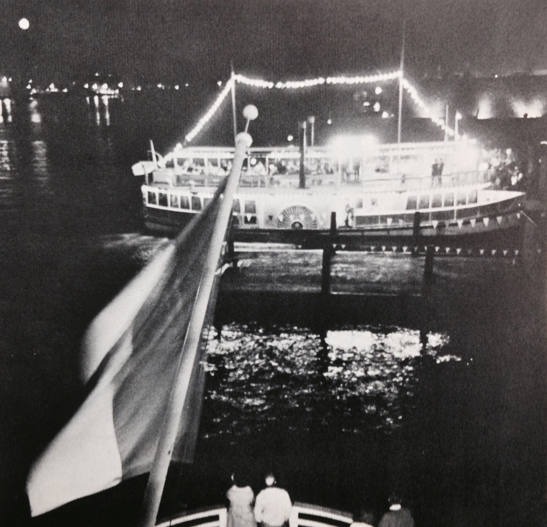 In the evening the S. S. Princess Louise, an authentic sidewheeler decorated in Mississippi riverboar plush, takes off for a cocktail cruise.