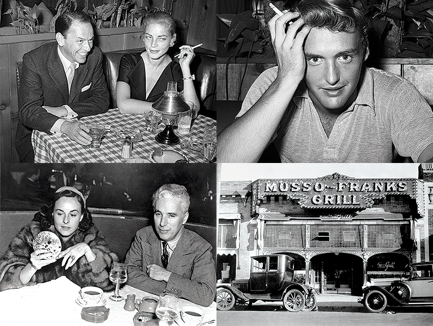 L-R: Because of the restaurant's no-photo policy, shots like these of Frank Sinatra with Lauren Bacall in 1957, Dennis Hopper in 1955, and Paulette Goddard with Charlie Chaplin in 1933 are rarities. Bottom right: The restaurant in 1930