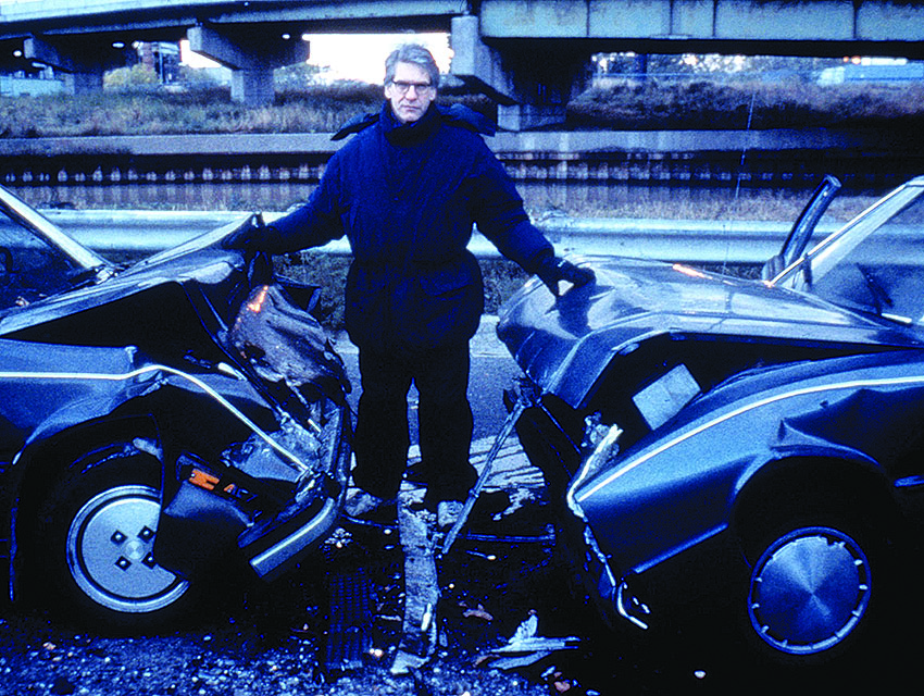 Director David Cronenberg on the set of his version of Ballard's Crash