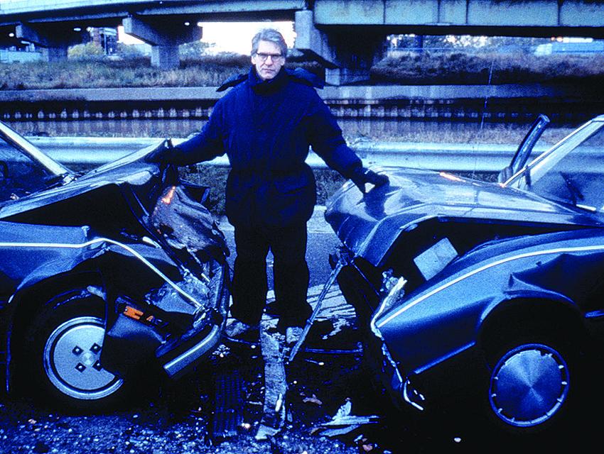 Director David Cronenberg on the set of his version of Ballard's Crash