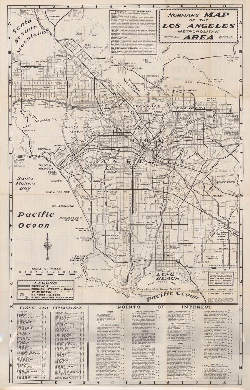 Norman's Map of the Los Angeles Metropolitan Area, Norman Garbush, 1960
