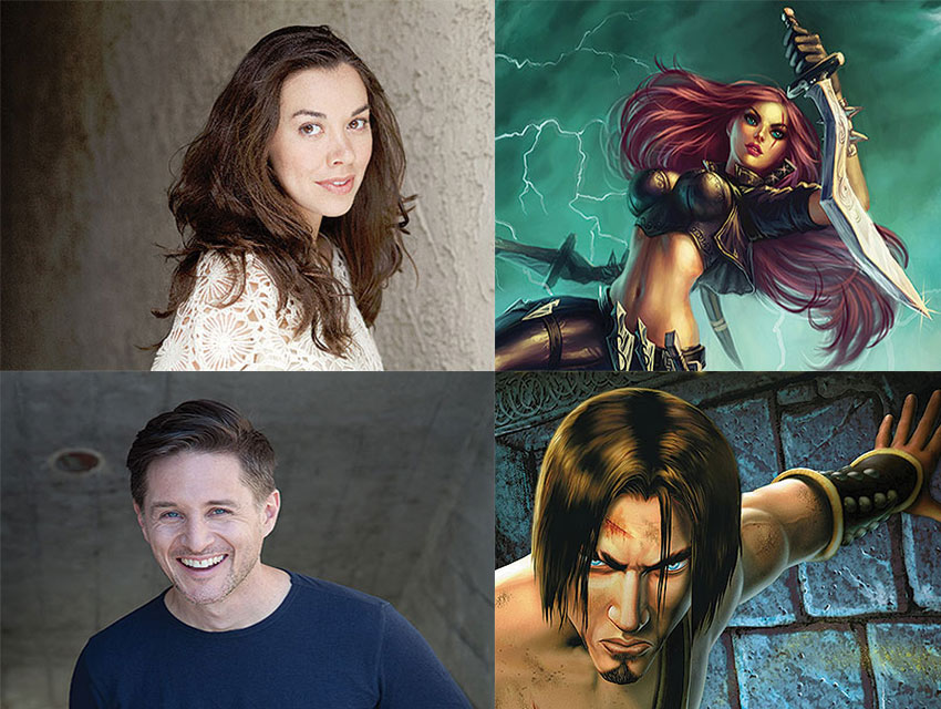 "Tara Platt (top) performs as Katarina in ""League of Legends."" Yuri Lowenthal (bottom) and his character the Prince from ""Prince of Persia"""