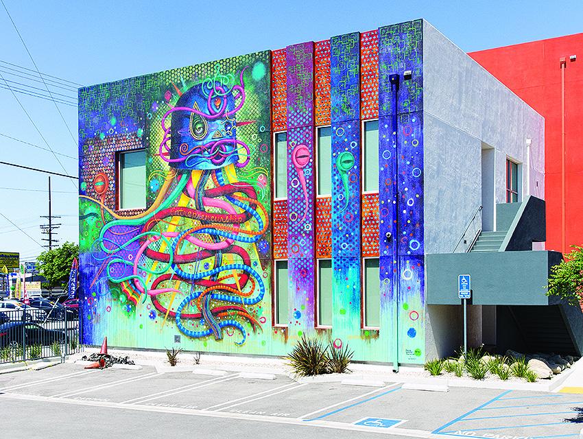 """Entrepreneurship Mural by Jaime """"Germs"""" Zacarias (2015) at 13420 Van Nuys Blvd."""