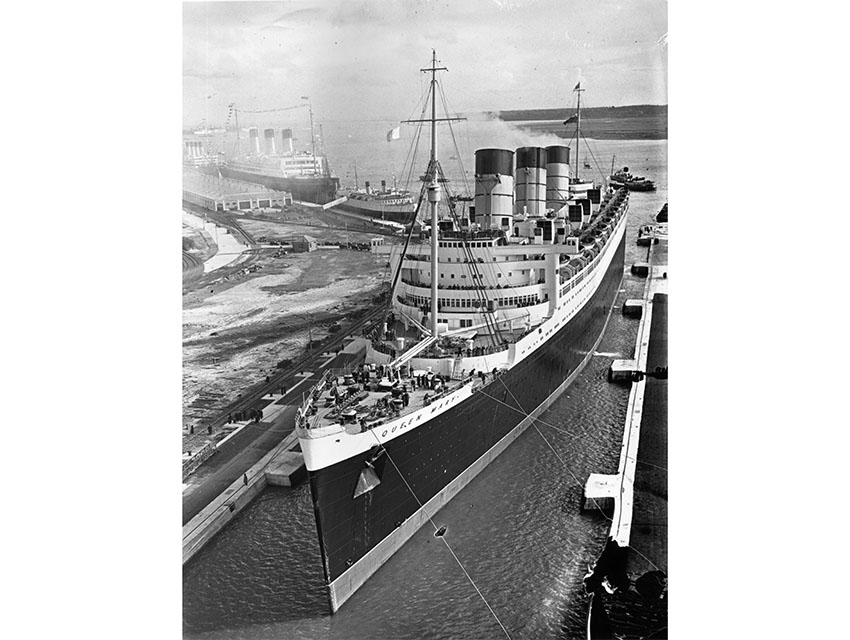 27th March 1936: The Queen Mary in George V dock, Southampton.