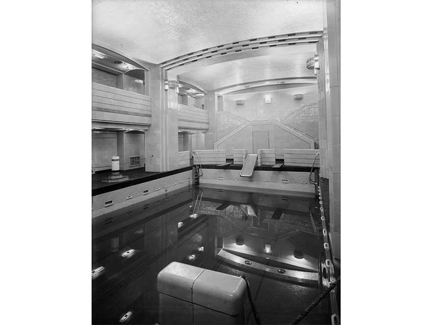 5th March 1936: The First Class swimming pool on board the SS Queen Mary, which is nearing completion at the shipyard on Clydebank, Scotland.
