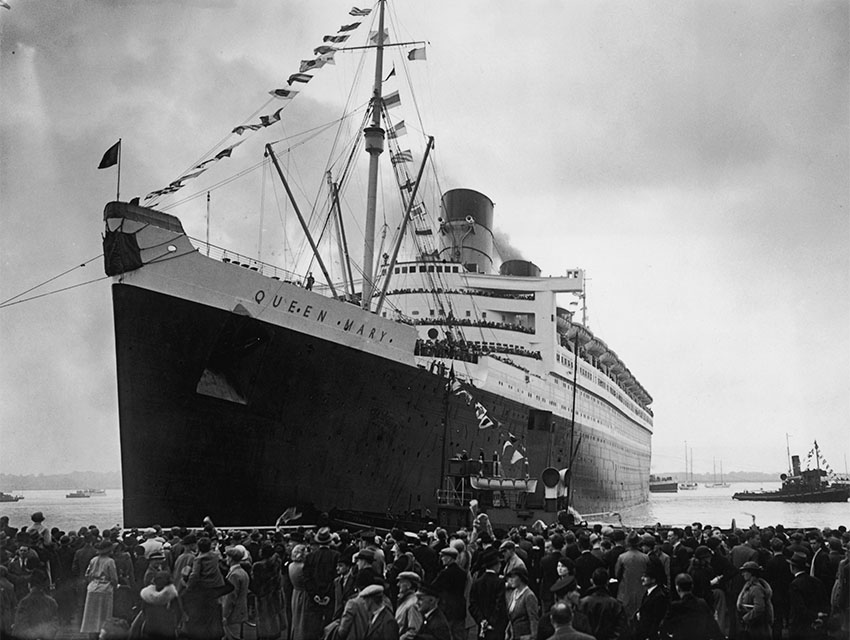 The Cunard White Star liner Queen Mary leaving the dock at Southampton on her maiden voyage, 27th May 1936.