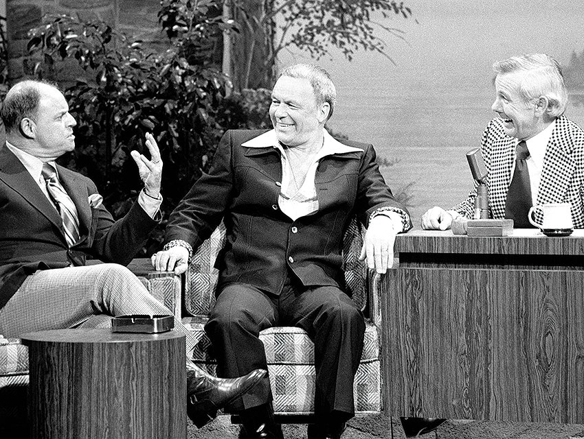 """Rickles with Frank Sinatra on """"The Tonight Show With Johnny Carson"""" in 1976"""