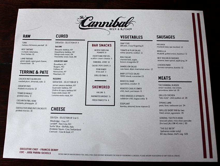 The menu, yay!