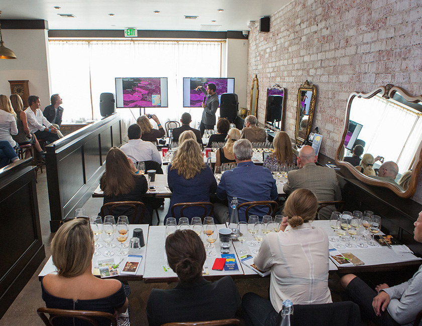 Master Sommelier Brian McClintic led two seminars at the event: Alsace 101 and a special Rocks & Riesling Retrospective, in which old vintages from four different soil types were tasted against current vintages