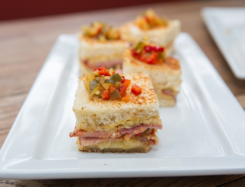 Terrine's Torta Cubana with smoked ham, capicola, gruyere and spicy pickle for the Alsace Wine + Swine event on May 16th