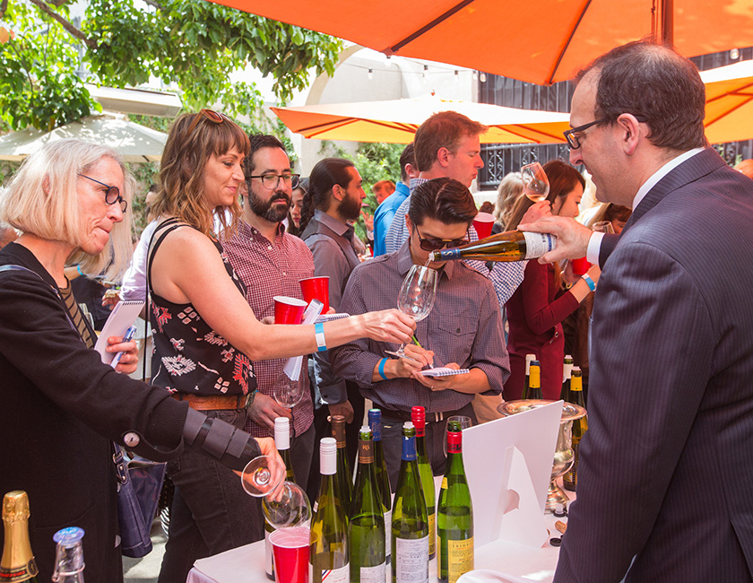Guests tasted an array of Alsace wines—from Riesling to Pinot Noir—at the Alsace Wine + Swine event