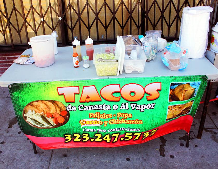tacos de canasta al vapor stand