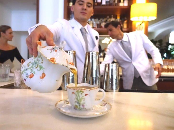 "Garden Bar's Garden Prohibition ""tea"" service: Ron Zacapa 23 rum, Lustau Palo Cortado Sherry, lemon, Demerara water, orange, apple bitters."