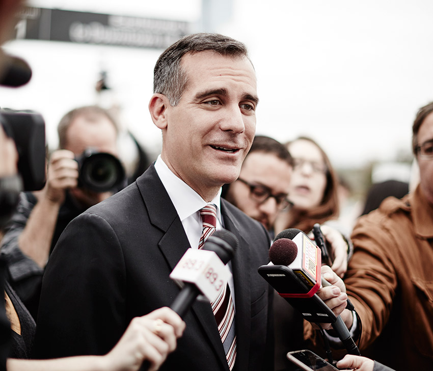 Garcetti visits a community celebration for the future Crenshaw Line