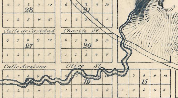 Charity Street, Calle de Caridad Los Angeles City Map No. 1, Edward E.C. Ord, 1849