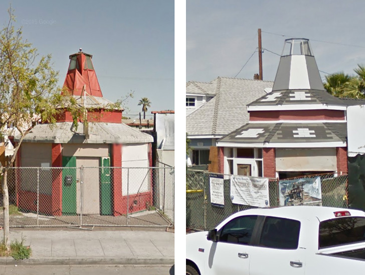 The giant percolator in March 2015 (left) and in April 2016 (right)