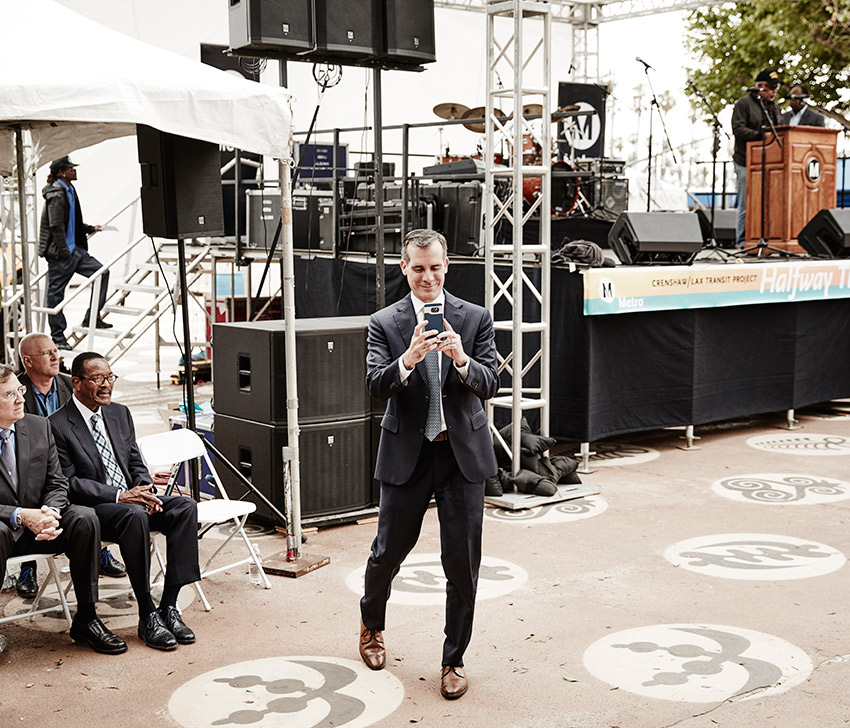 Garcetti visits the soon-to-open Expo Line to Santa Monica