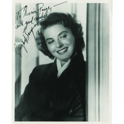 Autographed photo of Ingrid Bergman from the Marvin Paige collection