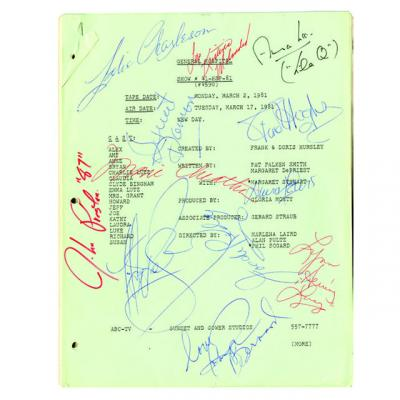 Script from General Hospital signed to Marvin Paige