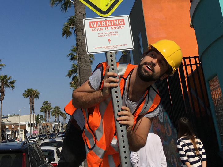Hayes in his construction worker getup