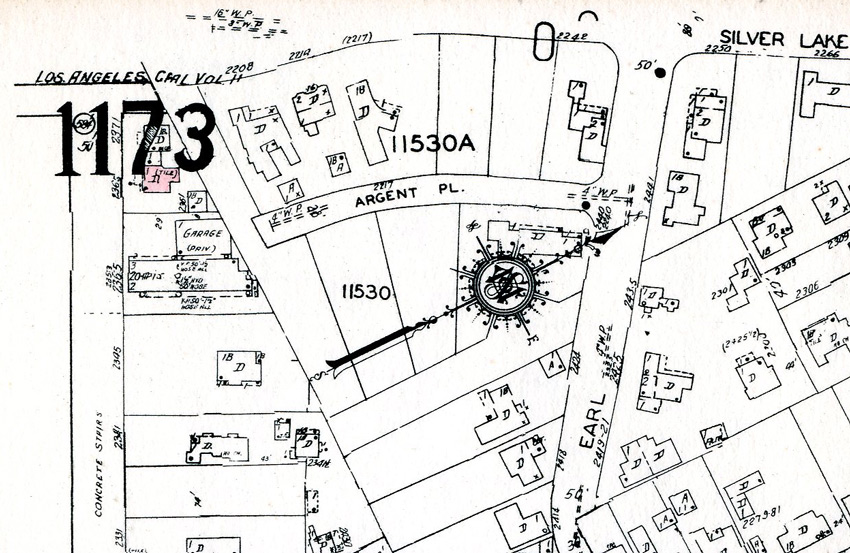 1956 map showing steps that are now known as the Mattachine Society Stairs