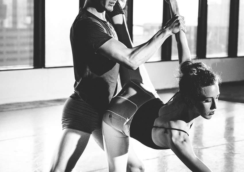 Emily Parker and Mate Szentes rehearsing George Balanchine's Agon