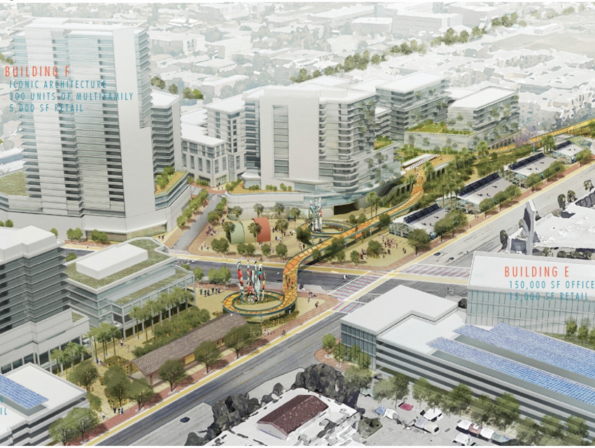 The proposed North Hollywood with the cycle highway in the foreground