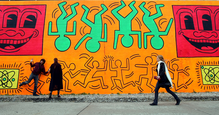A recreation of Haring's first major outdoor project. (The original mural was painted over shortly after its creation in 1982)
