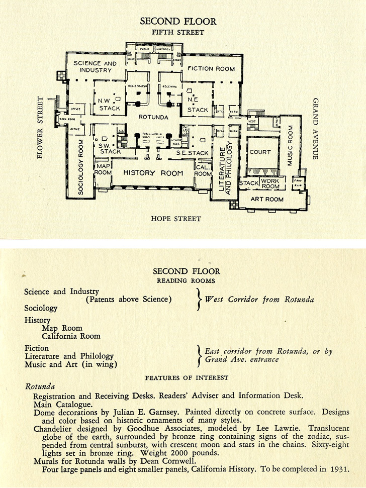 Guide Los Angeles Public Library, Second Floor, Library Commission, 1928