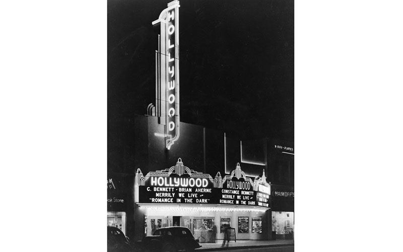 This glorious 1936 theater marquee is on Hollywood Boulevard between McCadden and Highland. It's now the Guinness Museum.