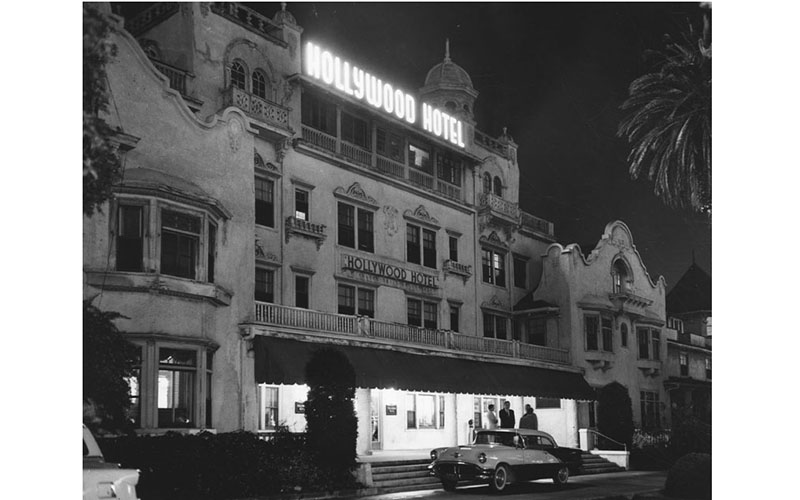 From 1902 to 1956, this rambling, mission-style hotel occupied the corner of Hollywood and Highland where The Gap is located today.