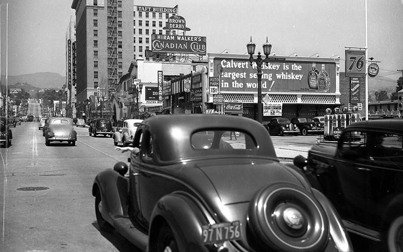 Looking north on Vine Street at Selma. The Brown Derby address is now a Trader Joe's