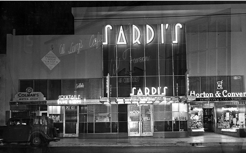 The northwest corner of Hollywood and Vine was home to the swanky restaurant Sardi's, designed by architect Rudolph Schindler.