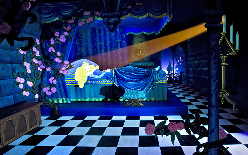 The dioramas inside Sleeping Beauty's Castle bring the 1959 animated film to life