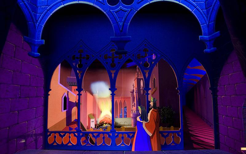 The restored Sleeping Beauty walkthrough inside the castle at Disneyland