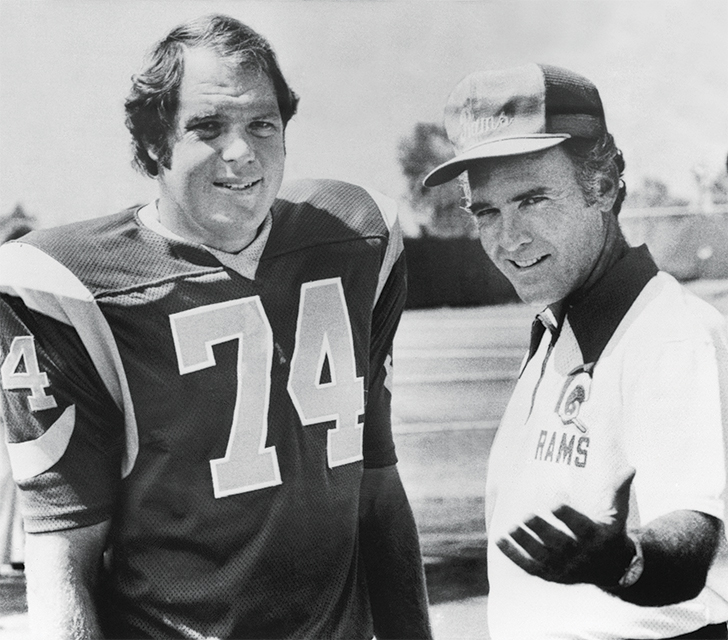 Coach Chuck Knox (right) with defensive tackle Merlin Olsen