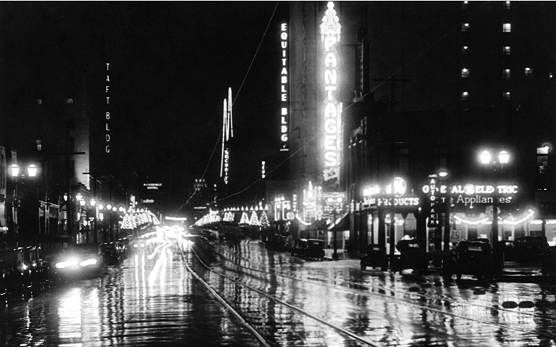 A rainy night at the Pantages Theater