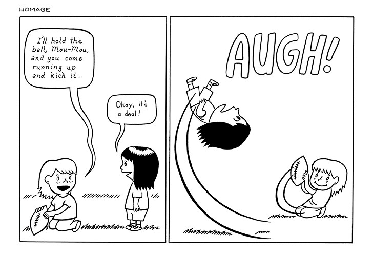"""In this pair of panels titled """"Homage,"""" MariNaomi borrows classic Peanuts gag"""